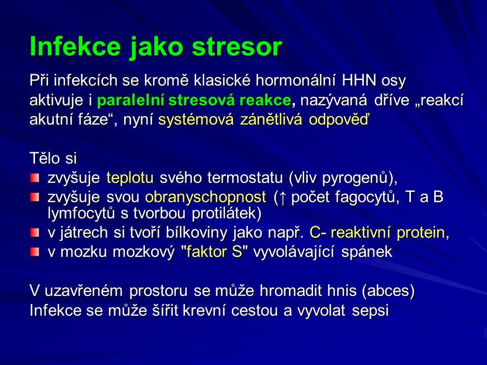 """Infekce jako stresor Při infekcích se kromě klasické hormonální HHN osy. aktivuje i paralelní stresová reakce, nazývaná dříve """"reakcí."""