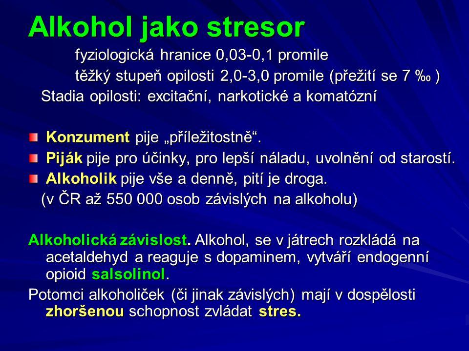 Alkohol jako stresor fyziologická hranice 0,03-0,1 promile