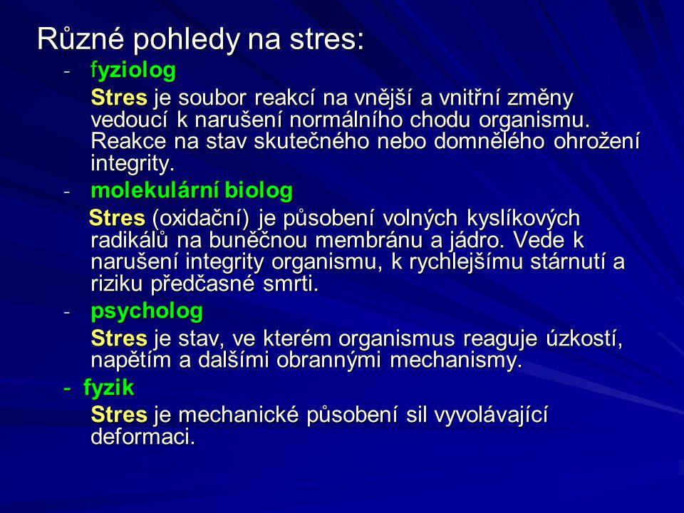 Různé pohledy na stres: