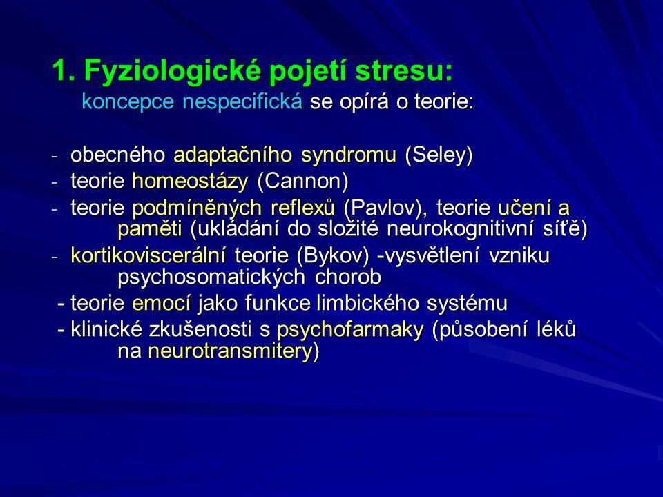 1. Fyziologické pojetí stresu: