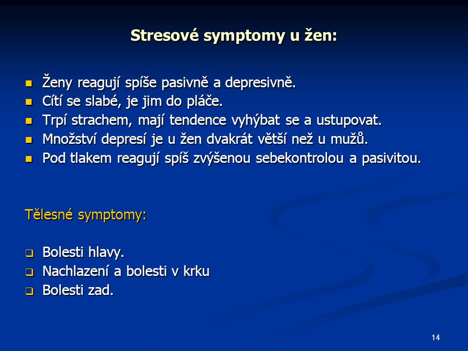 Stresové symptomy u žen: