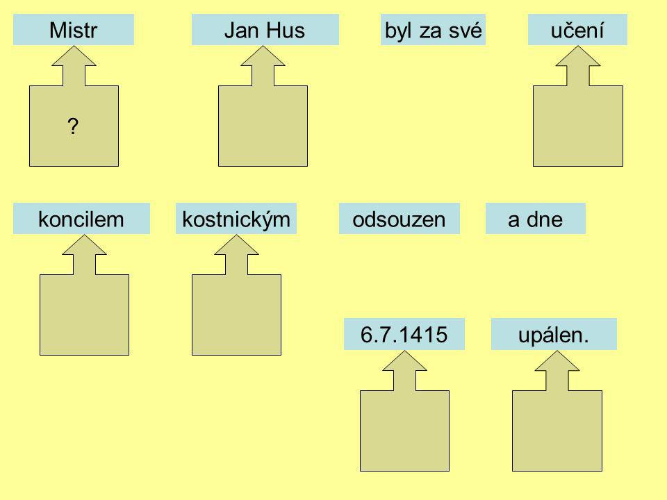 Mistr Jan Hus byl za své učení koncilem kostnickým odsouzen a dne 6.7.1415 upálen.