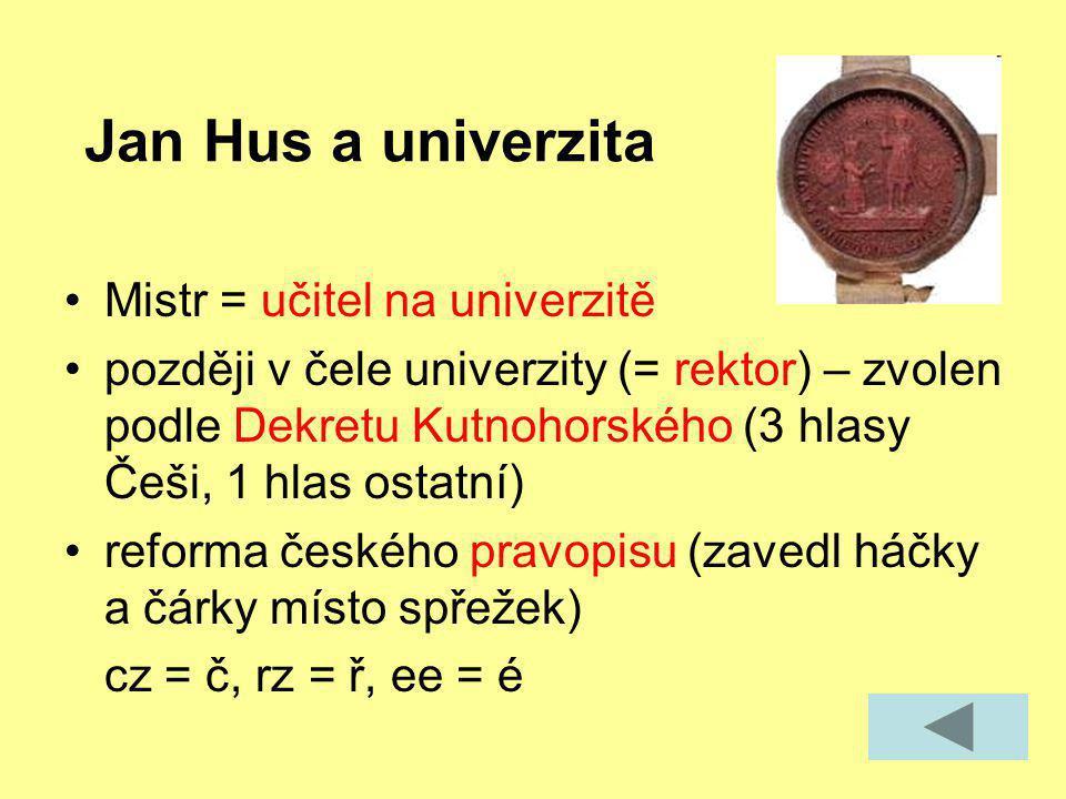 Jan Hus a univerzita Mistr = učitel na univerzitě