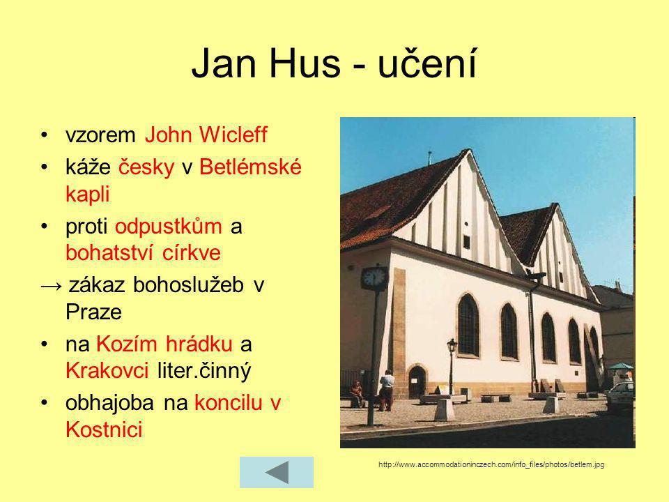 Jan Hus - učení vzorem John Wicleff káže česky v Betlémské kapli