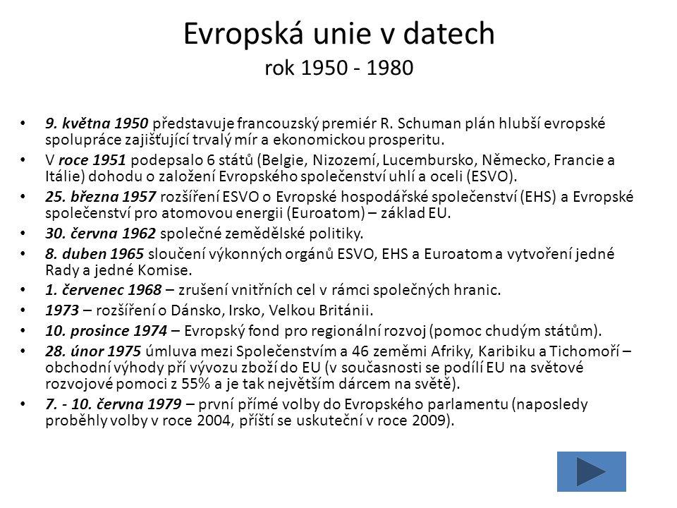Evropská unie v datech rok 1950 - 1980