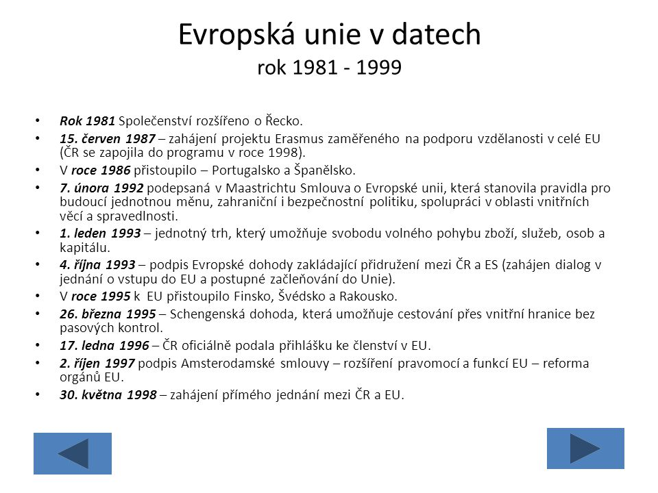 Evropská unie v datech rok 1981 - 1999