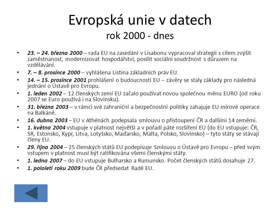 Evropská unie v datech rok 2000 - dnes