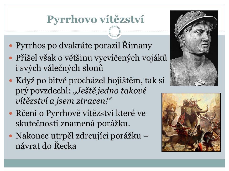 Pyrrhovo vítězství Pyrrhos po dvakráte porazil Římany