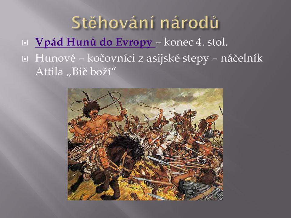 Stěhování národů Vpád Hunů do Evropy – konec 4. stol.