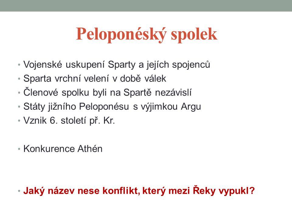 Peloponéský spolek Vojenské uskupení Sparty a jejích spojenců