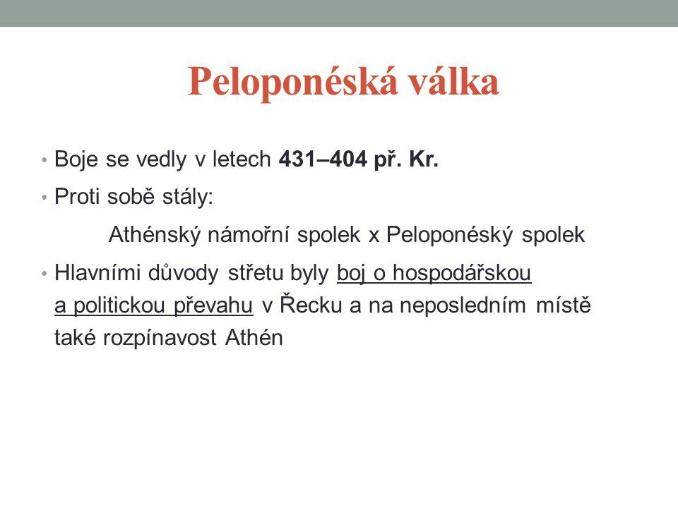 Peloponéská válka Boje se vedly v letech 431–404 př. Kr.