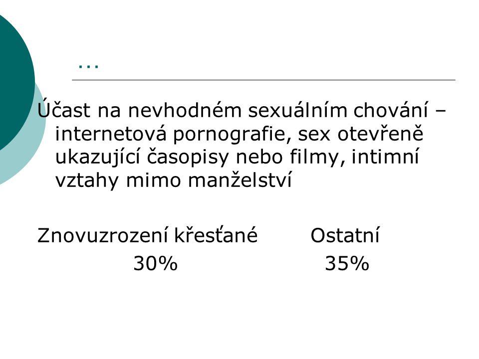 … Účast na nevhodném sexuálním chování – internetová pornografie, sex otevřeně ukazující časopisy nebo filmy, intimní vztahy mimo manželství.
