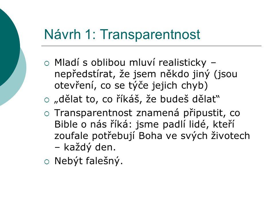 Návrh 1: Transparentnost
