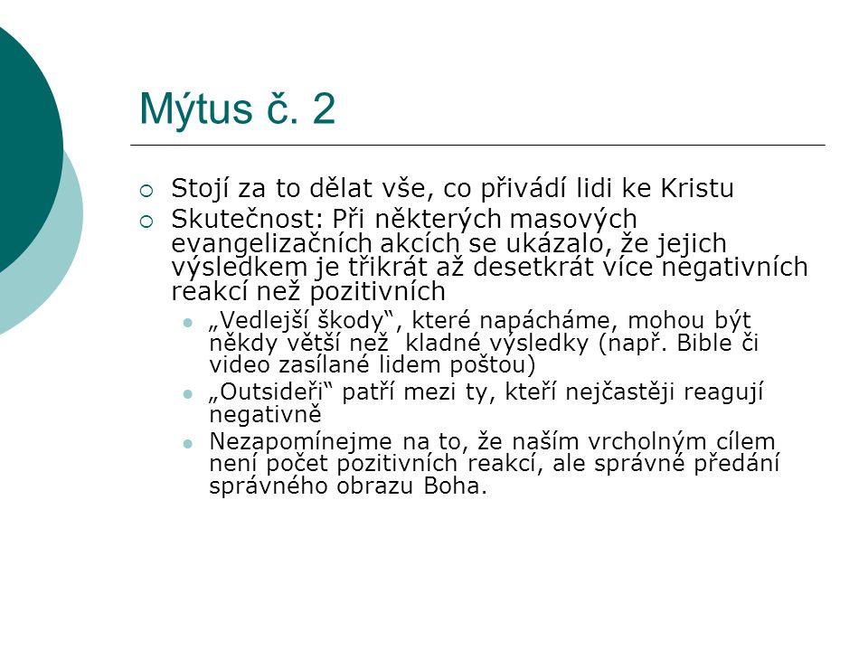 Mýtus č. 2 Stojí za to dělat vše, co přivádí lidi ke Kristu