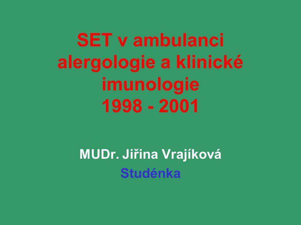 SET v ambulanci alergologie a klinické imunologie 1998 - 2001