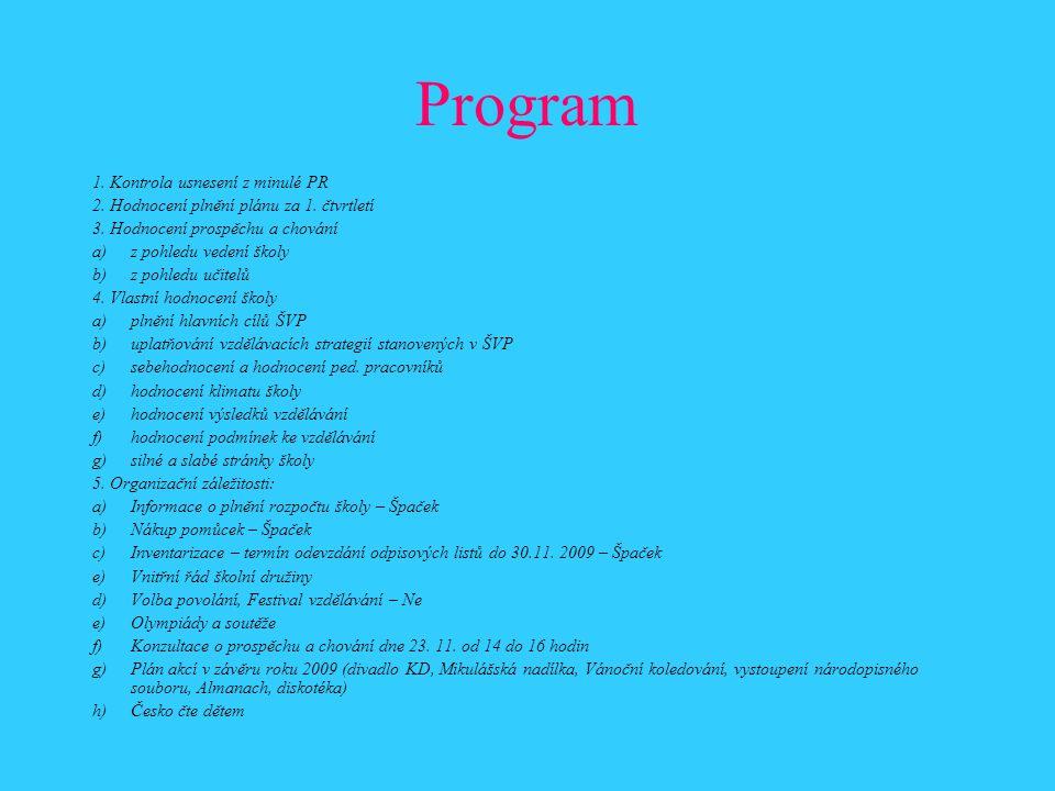 Program 1. Kontrola usnesení z minulé PR