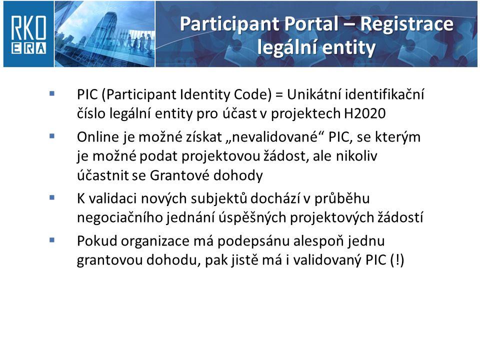 Participant Portal – Registrace legální entity