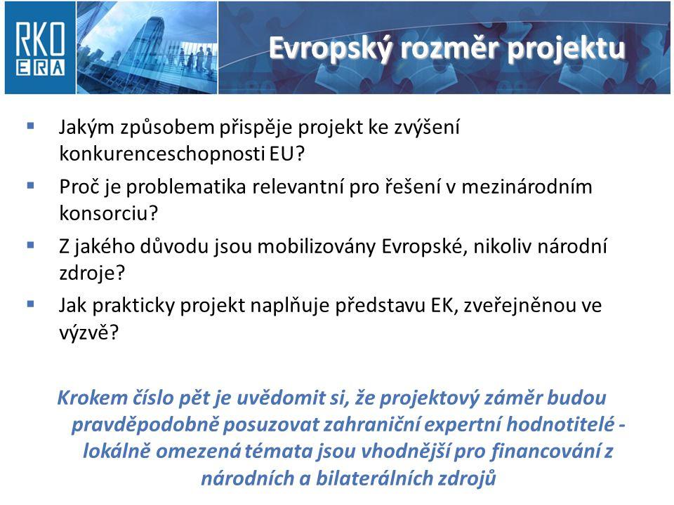 Evropský rozměr projektu