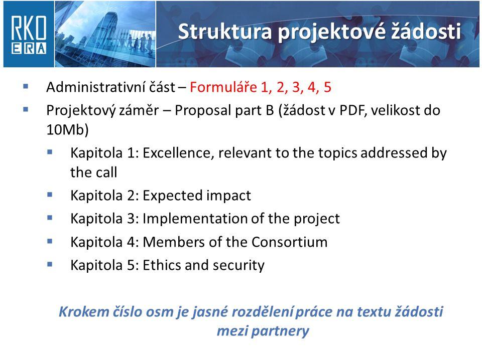 Struktura projektové žádosti
