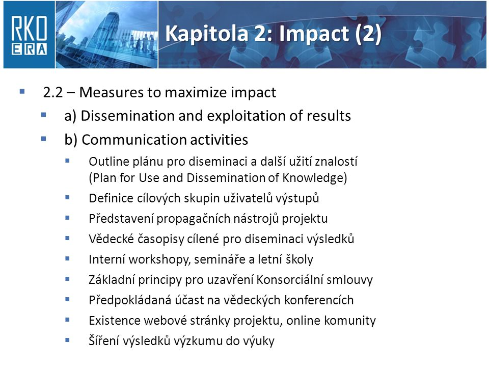 Kapitola 2: Impact (2) 2.2 – Measures to maximize impact