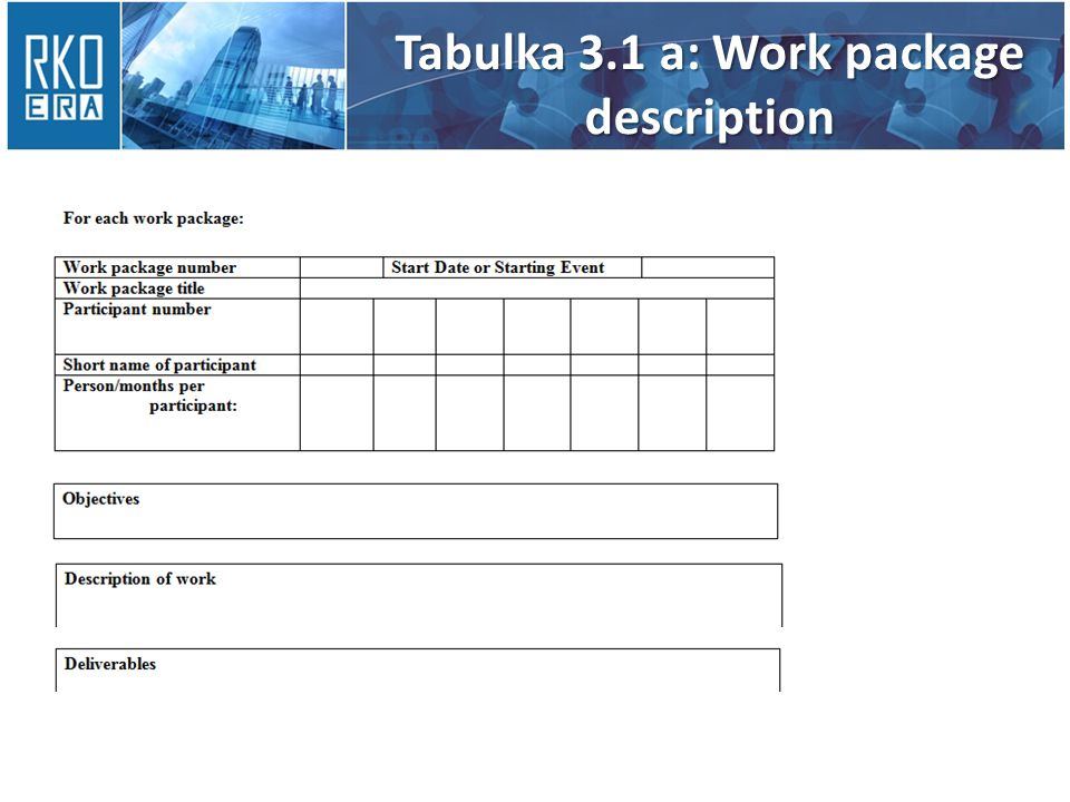 Tabulka 3.1 a: Work package description