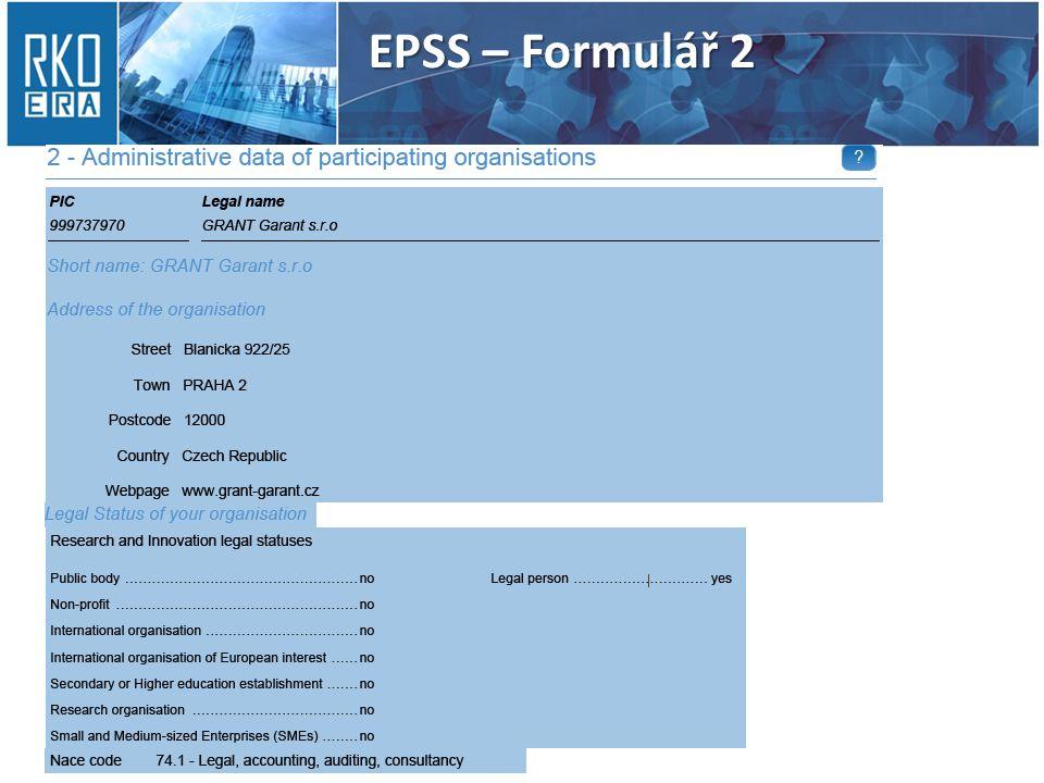 EPSS – Formulář 2