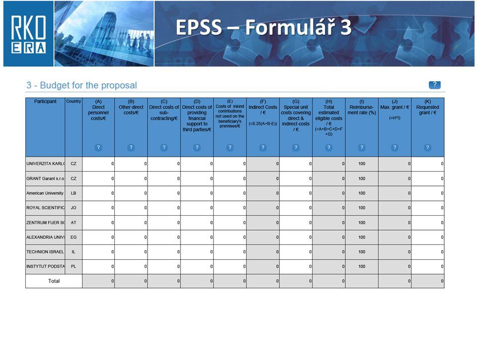 EPSS – Formulář 3