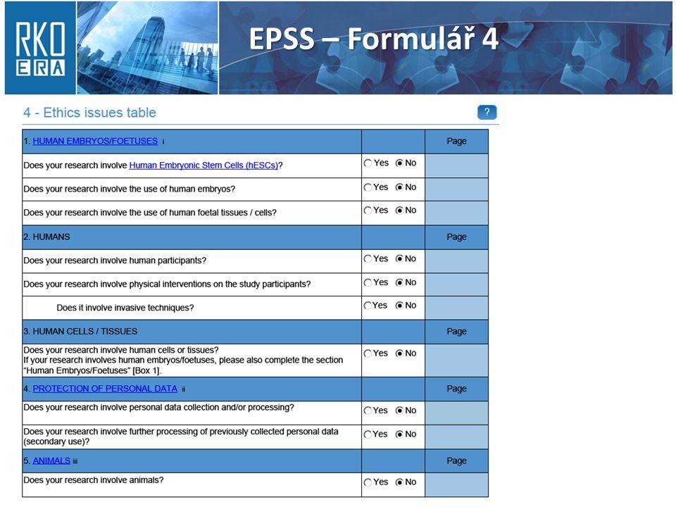 EPSS – Formulář 4