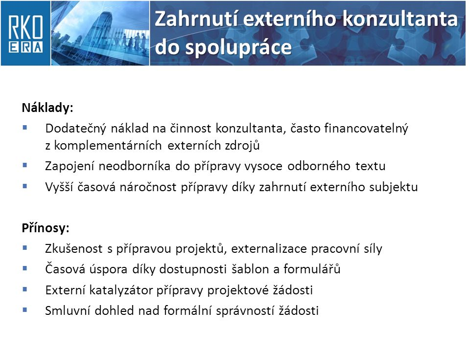 Zahrnutí externího konzultanta do spolupráce