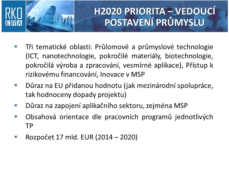 H2020 PRIORITA – VEDOUCÍ POSTAVENÍ PRŮMYSLU