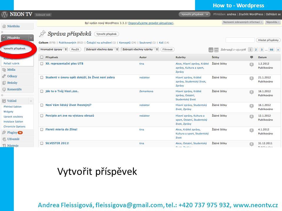 How to - Wordpress Vytvořit příspěvek.