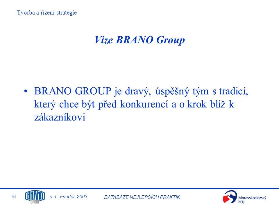 Vize BRANO Group BRANO GROUP je dravý, úspěšný tým s tradicí, který chce být před konkurencí a o krok blíž k zákazníkovi.