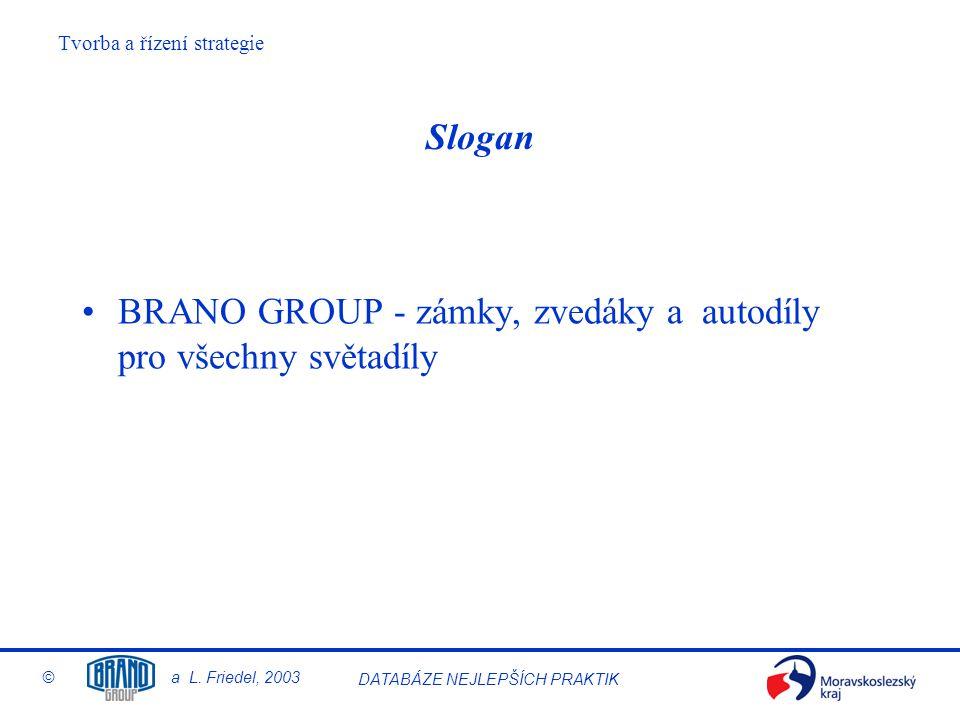 Slogan BRANO GROUP - zámky, zvedáky a autodíly pro všechny světadíly