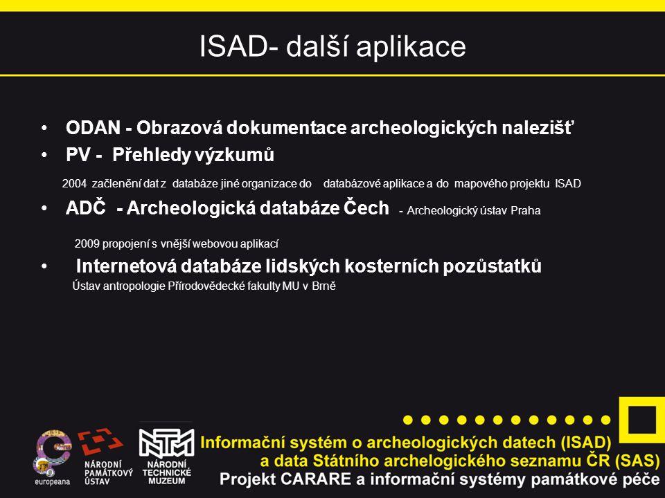 ISAD- další aplikace ODAN - Obrazová dokumentace archeologických nalezišť. PV - Přehledy výzkumů.