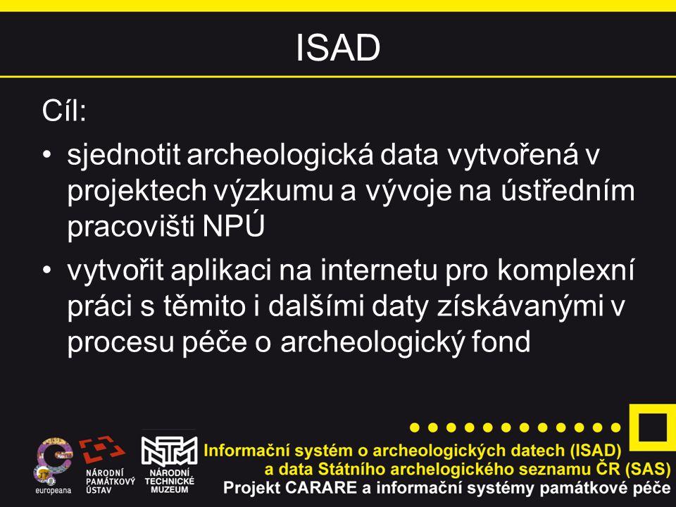 ISAD Cíl: • sjednotit archeologická data vytvořená v projektech výzkumu a vývoje na ústředním pracovišti NPÚ.