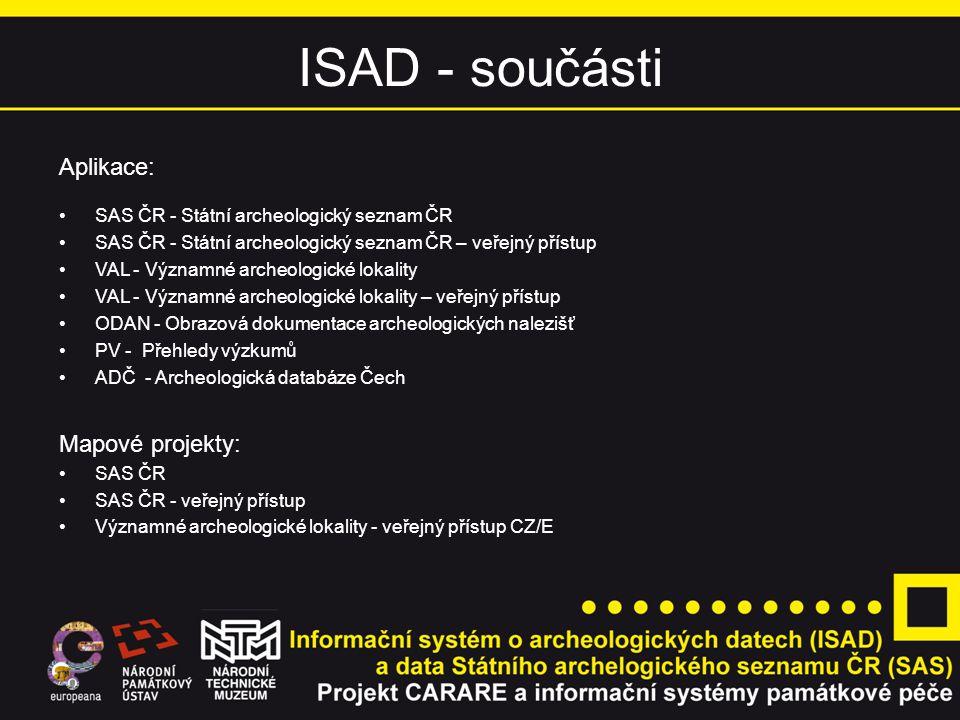 ISAD - součásti Aplikace: Mapové projekty: