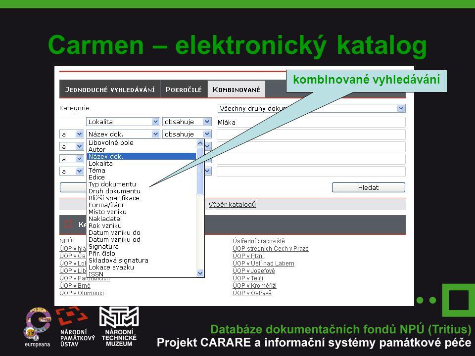 Carmen – elektronický katalog kombinované vyhledávání
