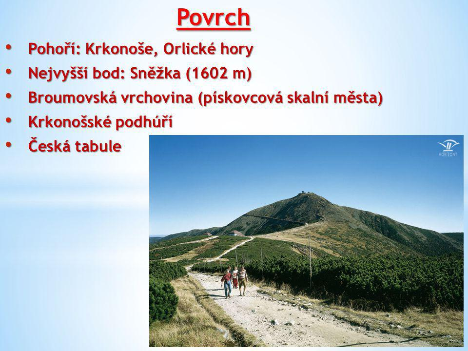 Povrch Pohoří: Krkonoše, Orlické hory Nejvyšší bod: Sněžka (1602 m)