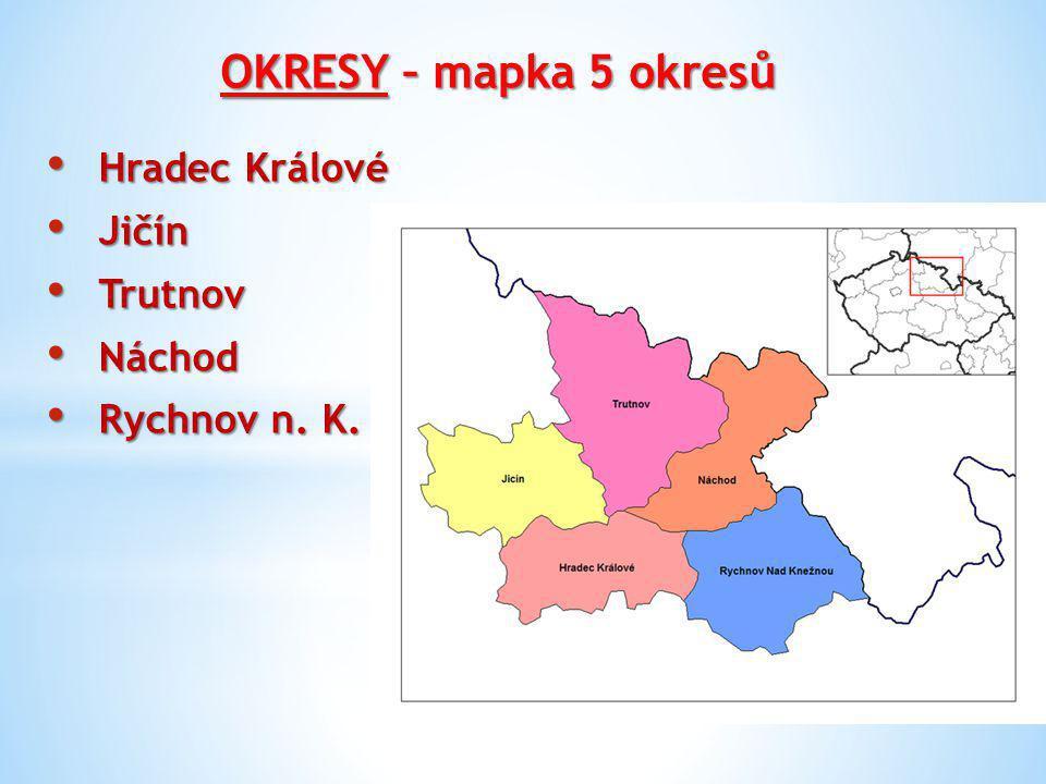 OKRESY – mapka 5 okresů Hradec Králové Jičín Trutnov Náchod