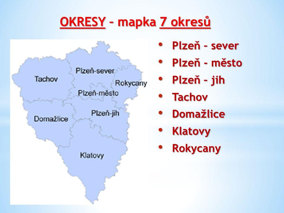 OKRESY – mapka 7 okresů Plzeň – sever Plzeň - město Plzeň – jih Tachov