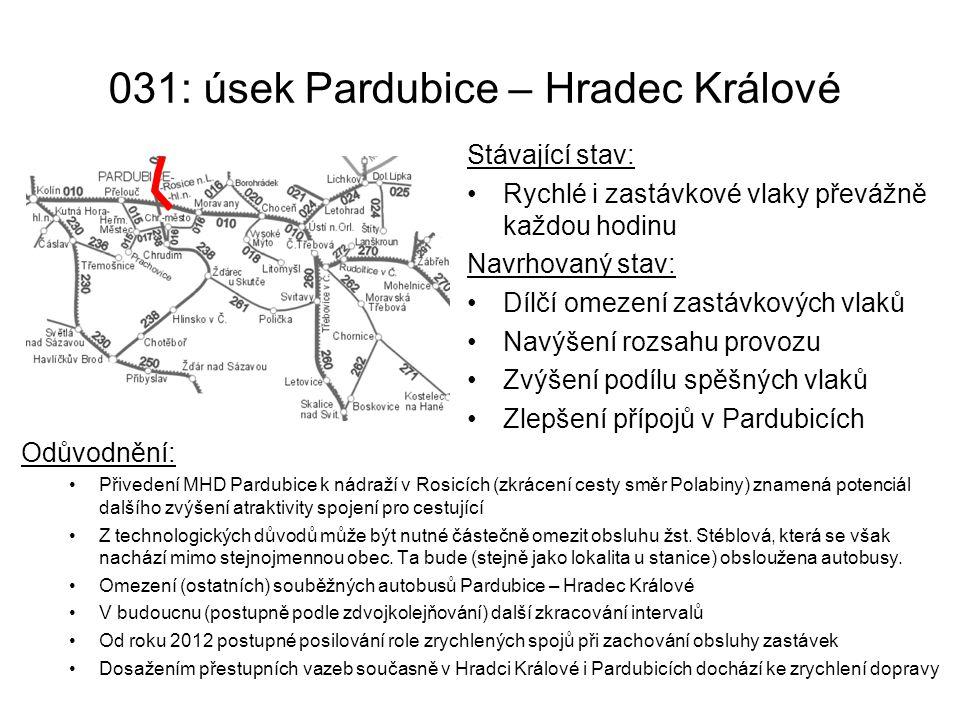 031: úsek Pardubice – Hradec Králové
