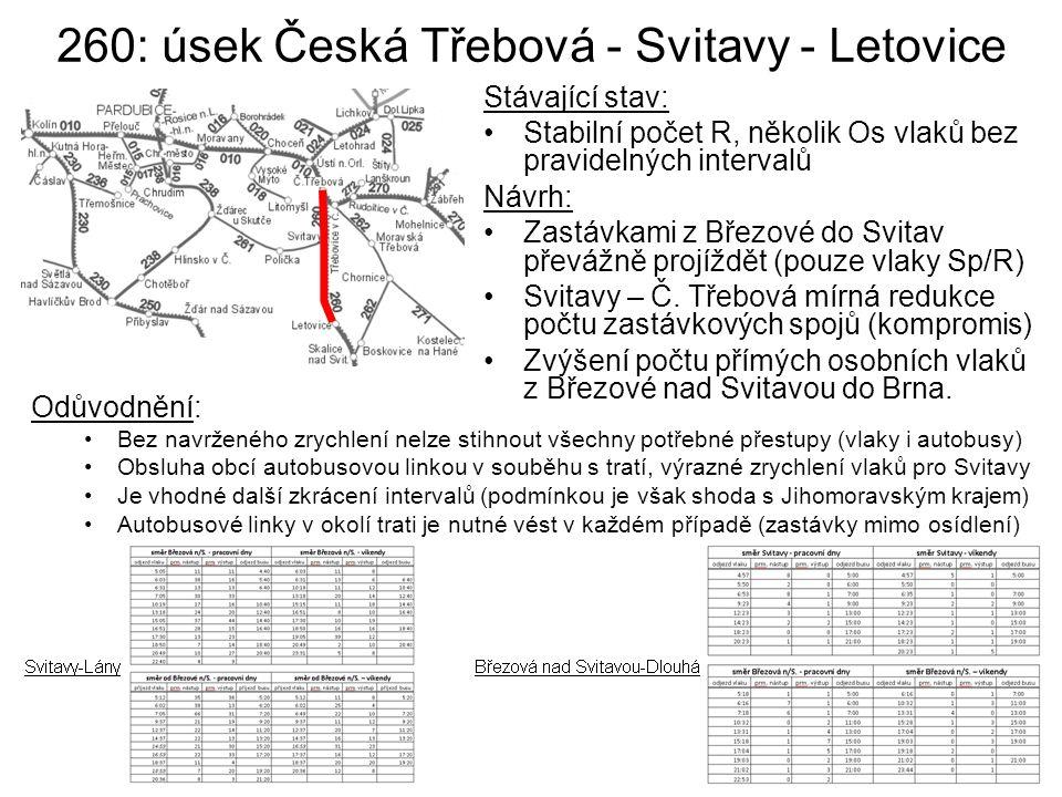 260: úsek Česká Třebová - Svitavy - Letovice