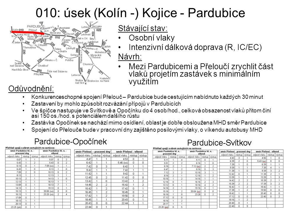 010: úsek (Kolín -) Kojice - Pardubice
