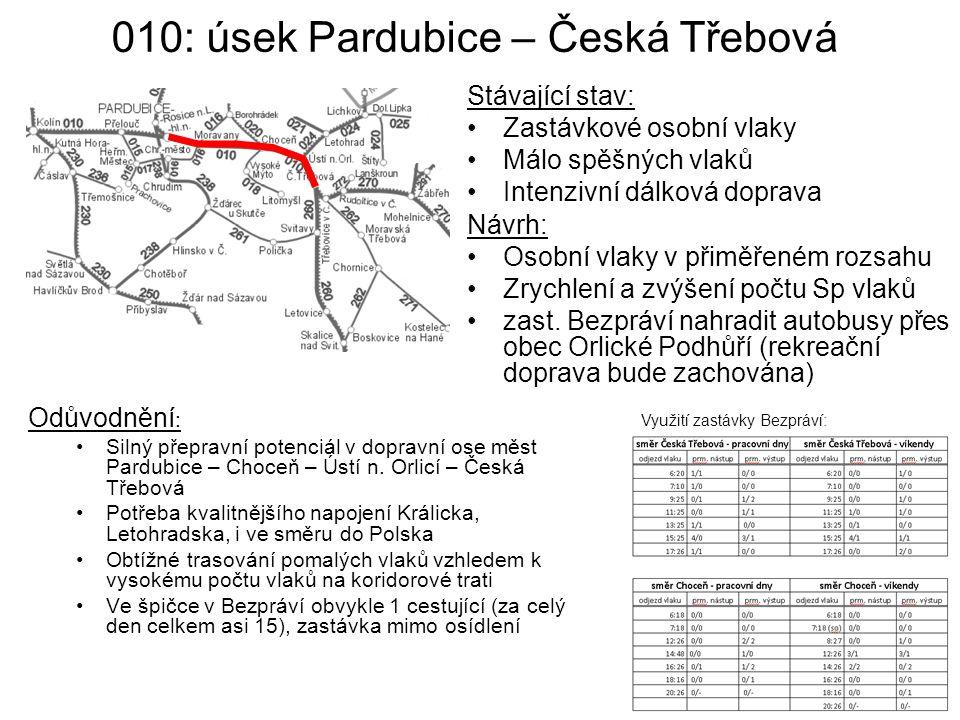 010: úsek Pardubice – Česká Třebová
