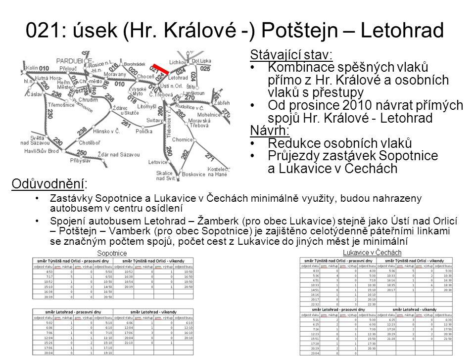 021: úsek (Hr. Králové -) Potštejn – Letohrad
