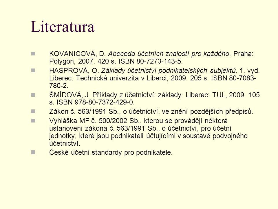 Literatura KOVANICOVÁ, D. Abeceda účetních znalostí pro každého. Praha: Polygon, 2007. 420 s. ISBN 80-7273-143-5.