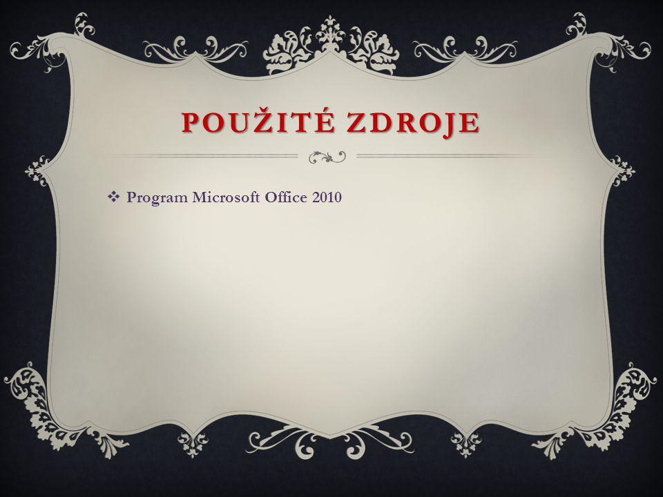 POUŽITÉ ZDROJE Program Microsoft Office 2010