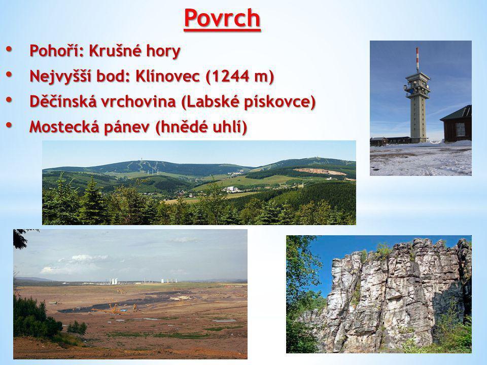 Povrch Pohoří: Krušné hory Nejvyšší bod: Klínovec (1244 m)