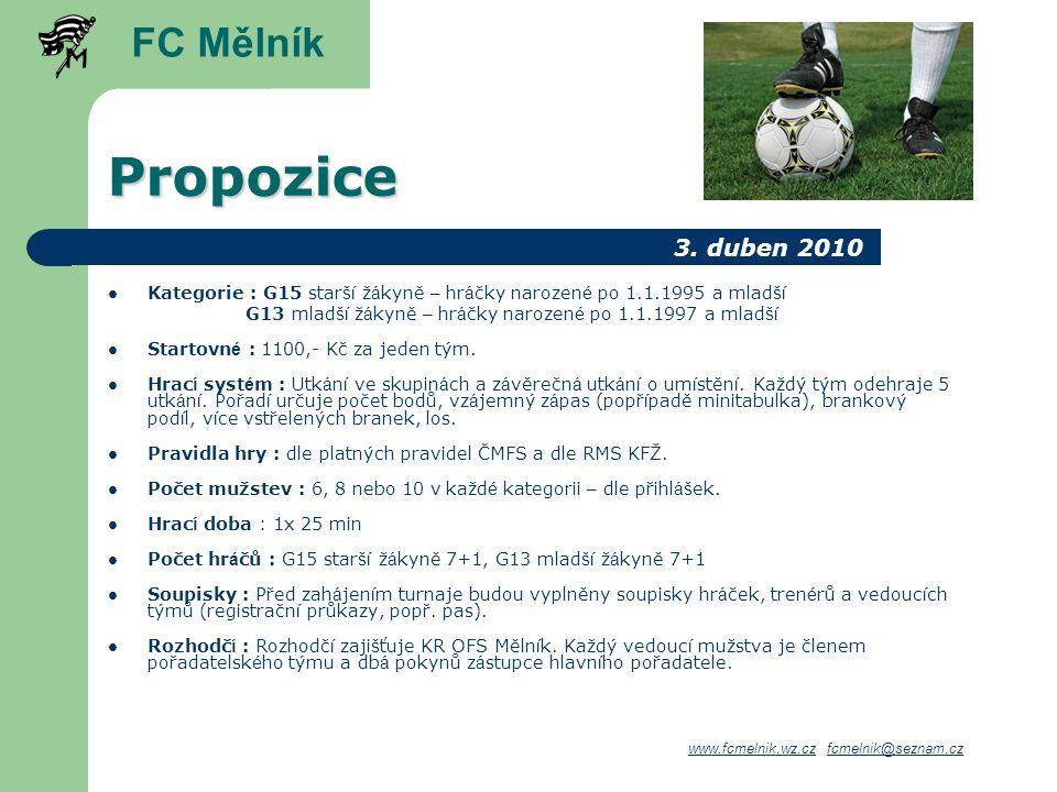 Propozice FC Mělník 3. duben 2010