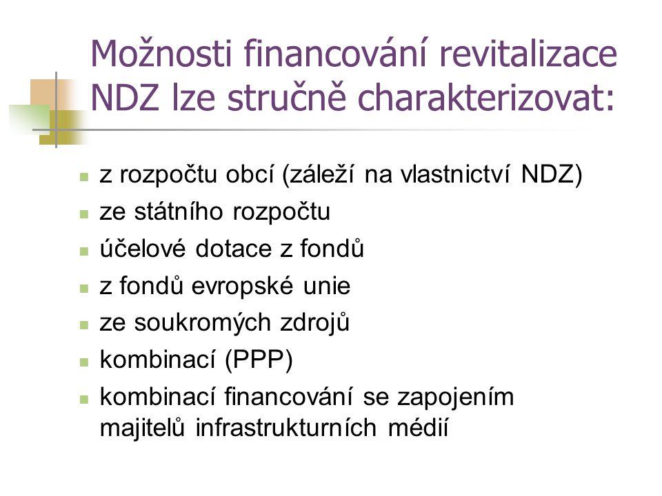 Možnosti financování revitalizace NDZ lze stručně charakterizovat: